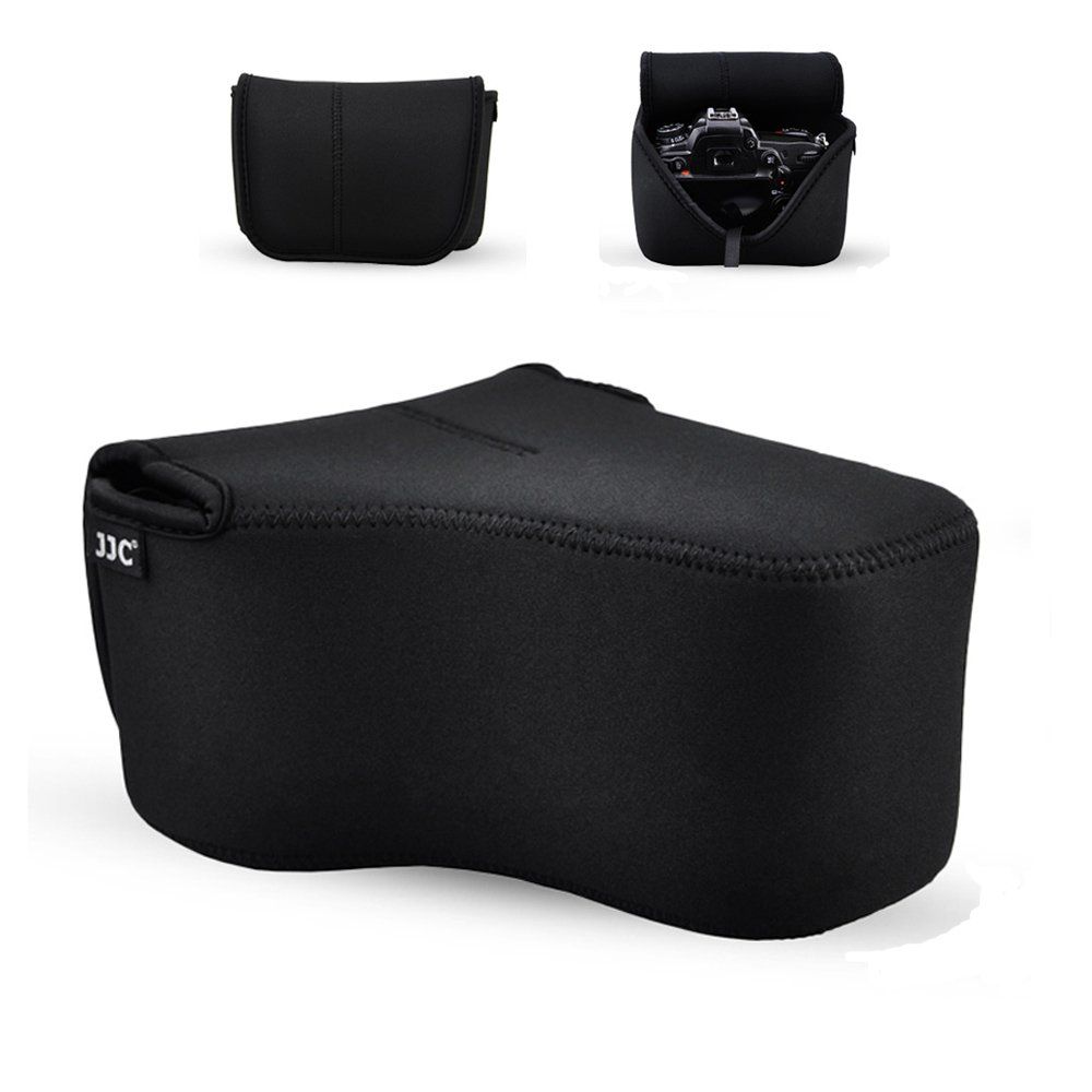 """DSLR Camera Case JJC SLR Camera Pouch Bag for Canon T7 T6s T6i T5i 80D 70D 60D Nikon D3200 D7200 D7100 D5500 D5300 D5200 D90 any other Camera with Lens less than 5.8x4.4x7.4"""" with Inner Strap-Black"""