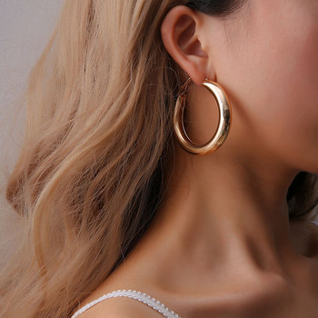 Jewelry Hoop Earrings Steel 18K Gold Plated Round Earrings, Ideal Gift for Women and Girls