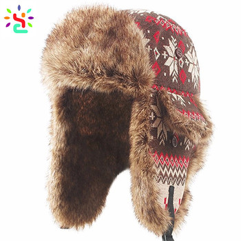 a41cfc4211793 Wholesale ushanka hat russian military hat warm winter cap with faux fur  aviator bomber hat Cossack
