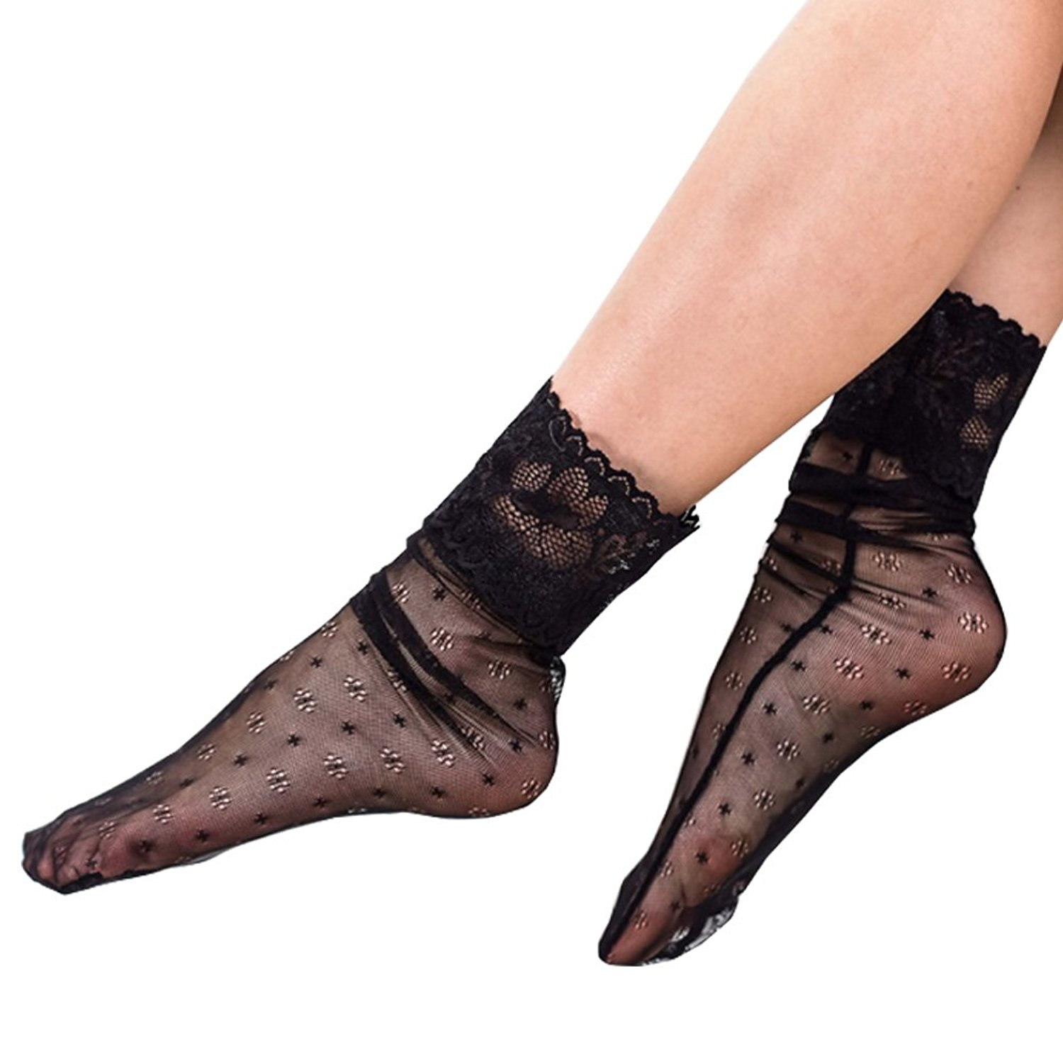 10fa341dbf0 Get Quotations · MEJORMEN Sheer Slouch Lace Socks Black Ruffles Dress Socks