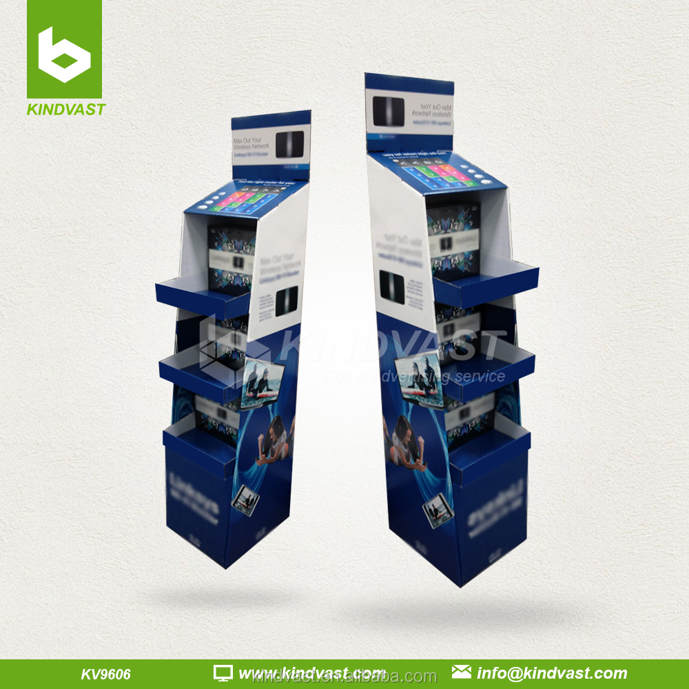 Morden 3 shelf pos paper floor display for ipad promotion an advertising