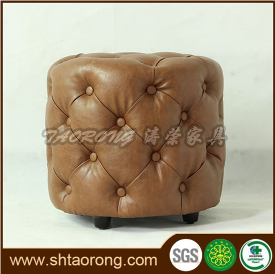 apartment living room faux leather round otoman with buttons OT-155
