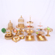 Wedding Tray And Hanging Crystal Cup Dessert Gold Plated Set Birdcage Cake Stand
