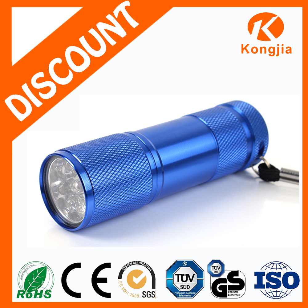 Flashlight Factory Supply Cheap Aluminum Portable Black Best Quality 9 Led UV Flashlight Torch