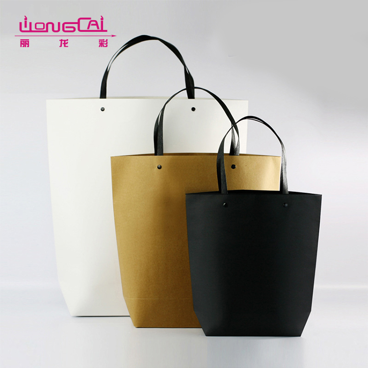 Fashion hign end luxury recycled stand up kraft paper shopping bag