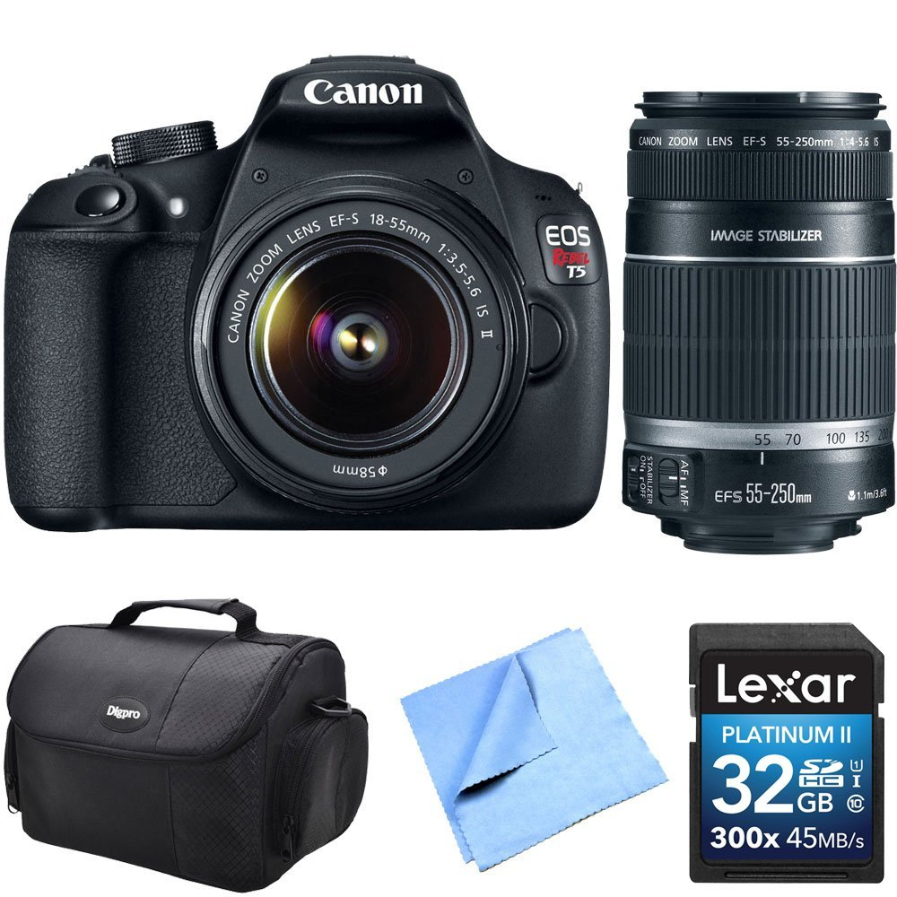 Canon EOS Rebel T5 18MP DSLR Camera w/ 18-55mm & 55-250mm Lens Instant Rebate Kit Includes Camera, 32GB Professional 633x SDHC Class 10 UHS-I/U3 Memory Card Up to 95 Mb/s, Gadget Bag, and Microfiber Cleaning Cloth