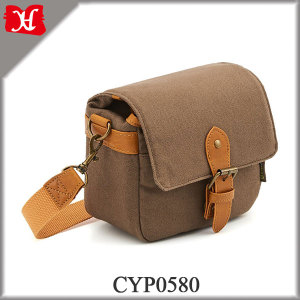 Small Canvas Shoulder Pouch Bag Case Compact SLR DSLR Camera Leather Bag Case