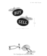 High Quality oval Letter Buy Sell Mens Custom Cufflinks Novelty Buy Low Sell High Stock Market Cufflinks Wholesale