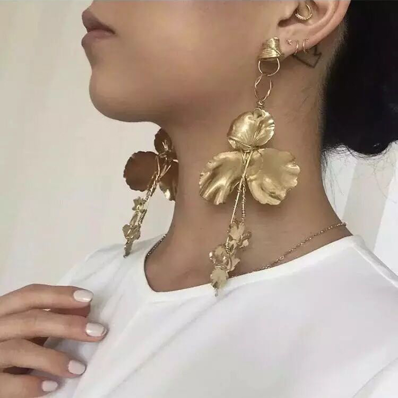 12158 Dvacaman 2017 Wholesale Fancy Gold Pendant Leaf Dangle Drop Earrings