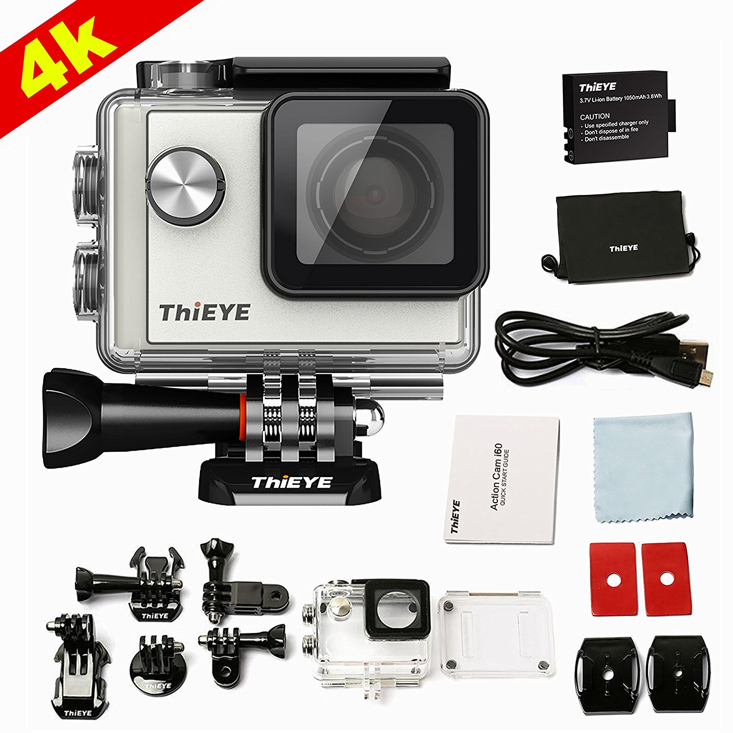 ThiEYE i60 4K WIFI Action Camera Full HD 1080P Waterproof Diving 131FT Sports Camera Helmet Cam Outdoor Sports DV, Accessories Included