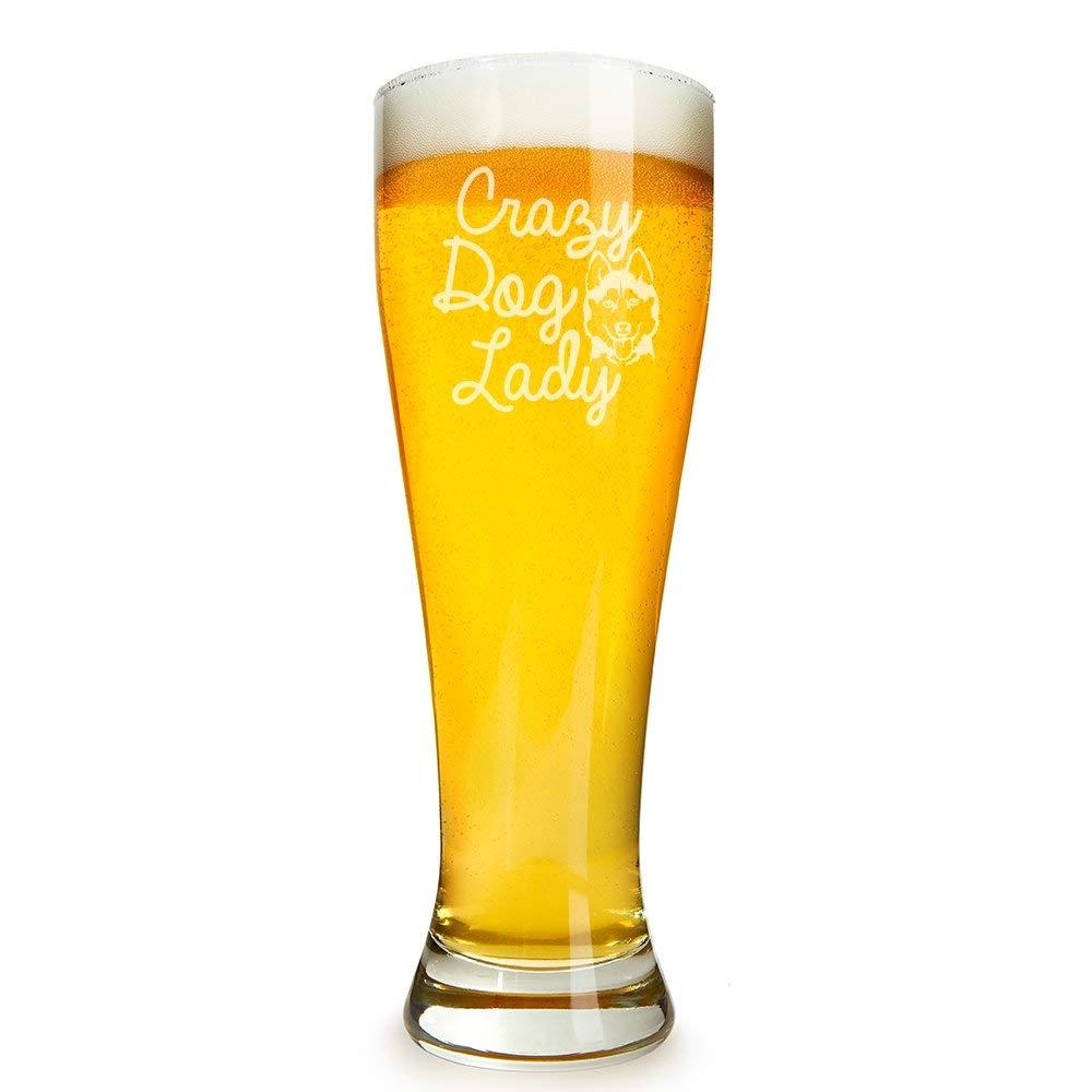 Crazy Dog Lady Siberian Husky Engraved 16 ounce Beer Glass Pilsner