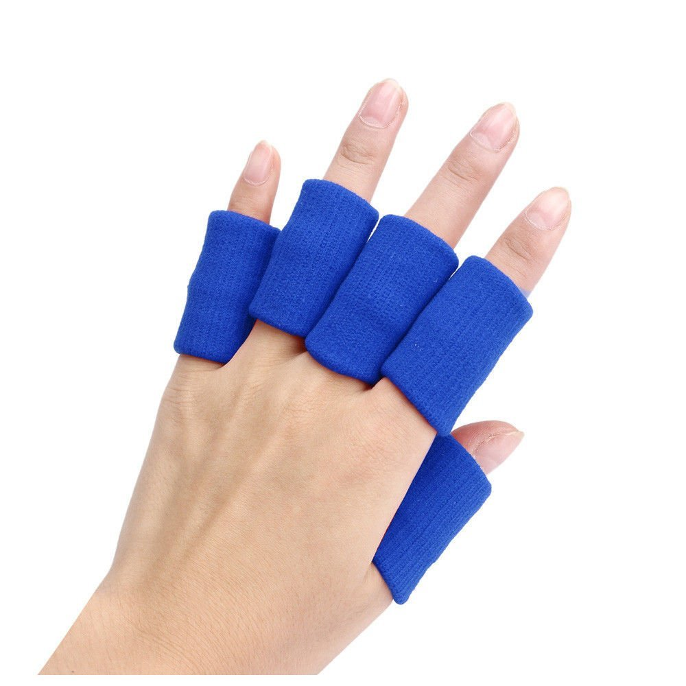 Finger Guard Sleeves - SODIAL(R)Portable 10pcs Stretch Sports Basketball Finger Guard Support Sleeves Protector blue