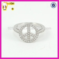 Fashion style sterling silver ring in platinum plating classic white zircon peace value 925 silver ring
