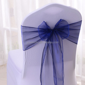 Wholesale cheap navy-blue wedding organza chair covers sash