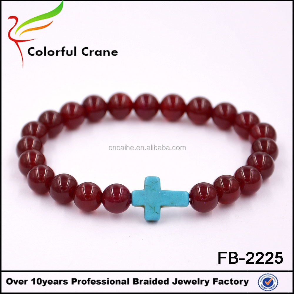 Fashion cross charm bracelet made of natural stone