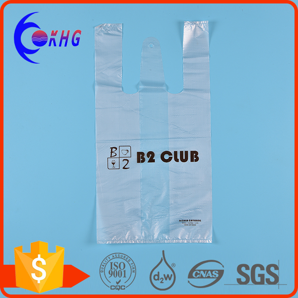 Wholesale fashion custom plastic grocery bag with vest handle
