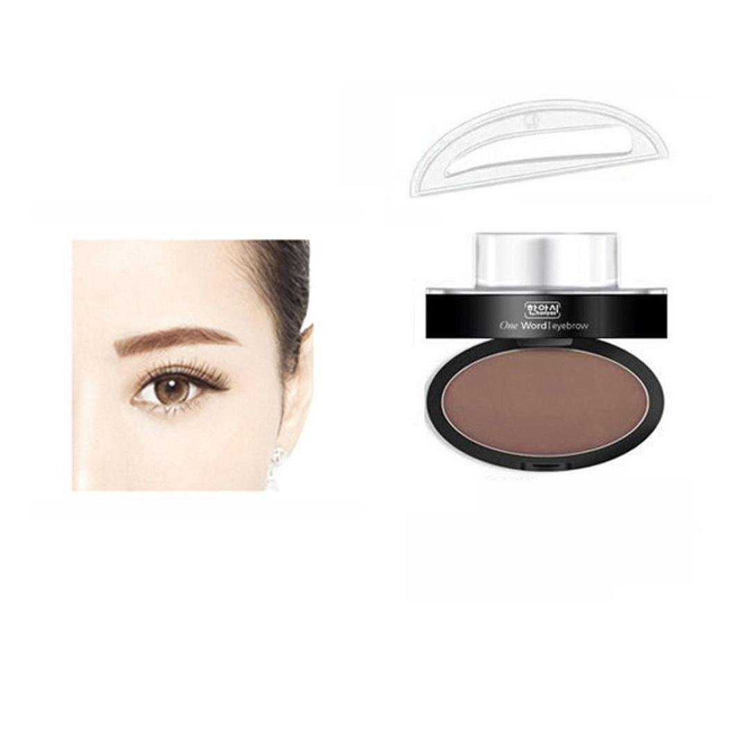LandFox Brow Stamp Powder Delicated Natural Perfect Enhancer Straight United Eyebrow Powder (Brown)