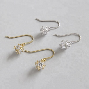 Flower Drop Earrings Fashion 925 Sterling Silver White CZ Zircon Earrings for Women Wedding Jewelry Gifts