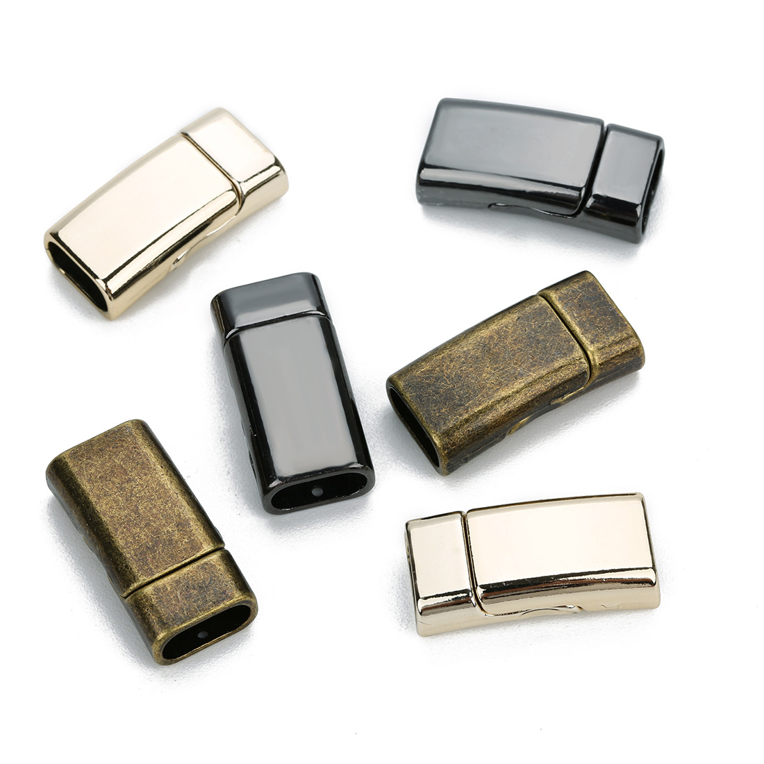 rectangle shape Alloy magnetic buckle clasp inner hole 10x5mm for flat leather bracelets
