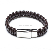 Fashion Braided Blank Bracelet Making Supplies Leather Bracelet With Stainless Steel Magnetic Closer