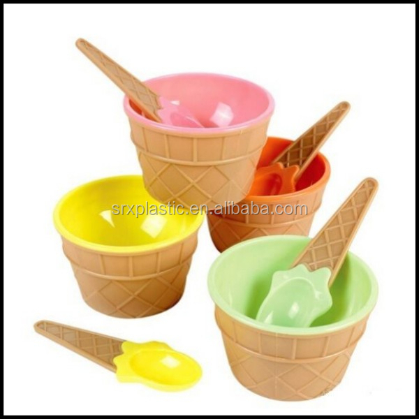 Plastic Waffle Ice Cream Bowl with Spoon Pink Yellow Orange Green Sundae plastic Dish,custom plastic dishes plates manfuacturer