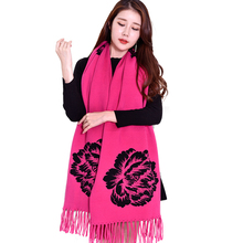 2017 Winter Acrylic Scarf Warm Women Flower Printed Scarves Shawls Wraps with Sleeves