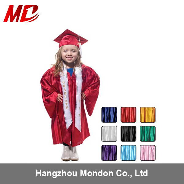 Hign quality shiny red children preschool graduation cap and gown for graduation