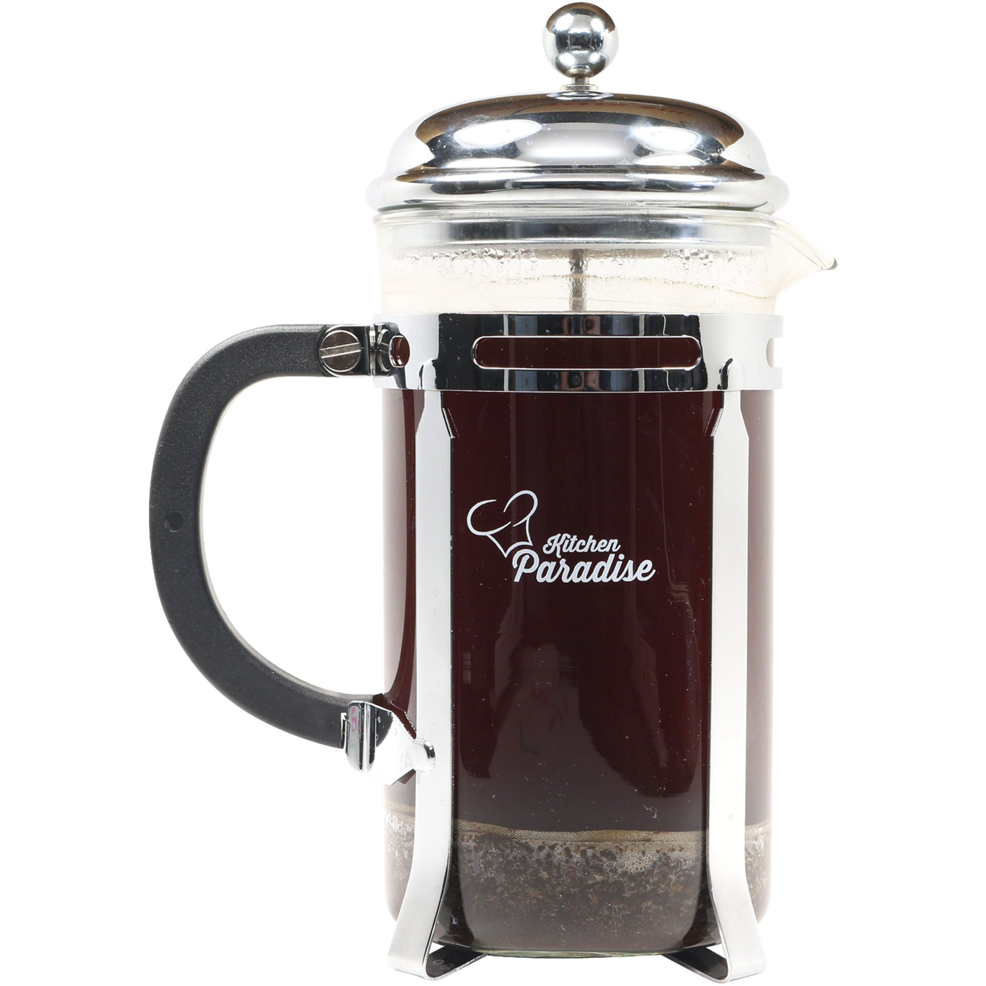 #1 French Press for Coffee & Tea - 8 cup/4 mug 34oz, Chrome Finish Frame & Lid, Stainless Steel Plunger, Heat Resistant Glass, 2 Replacement Screens. Makes a Great Gift. Free Recipe E-BOOK included