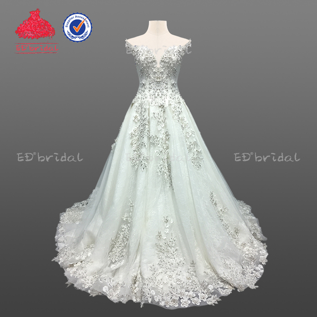 2018 New Collection Luxury Off Shoulder Pearls Lace Liques Wedding Dress Bridal Gown