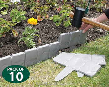 cobbled stone effect lawn edging set of 10 10pcs lakeland cobbled stone effect plastic - Plastic Garden Edging