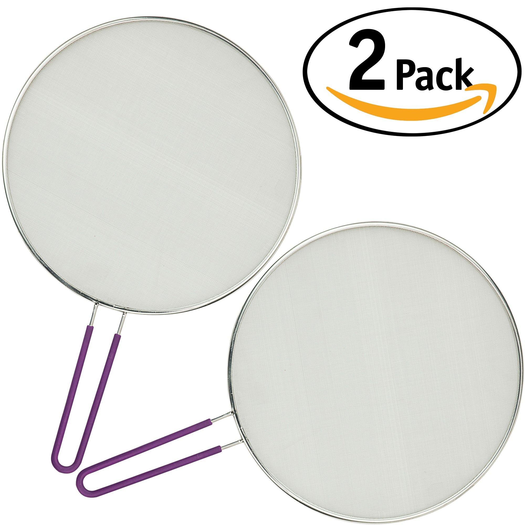 DecorRack Pack of 2 Splatter Screen Protectors 11 inch, Splatter Guard with Handle for Frying Pan and Cooking, Stainless Steel Fine Mesh Oil Splatter Screen Cover, Flat Strainer (2 Pack)