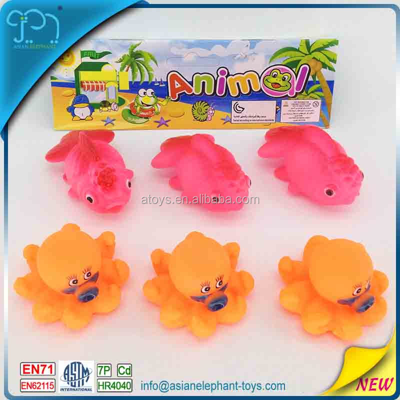 6 Pcs Rubber Fish Toys For Kids Rubber Goldfish For Bath Octopus ...