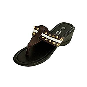 2dec84005 Get Quotations · Bulk Buys Brown Wedge Sandals with Stripe   Spike Accents  - Pack ...