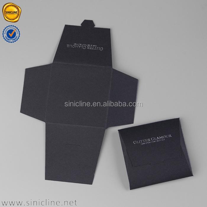 Envelopes de papel de embalagem de luxo personalizado preto Sinicline com folha de prata