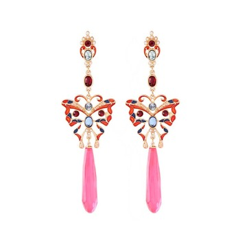 AP38033 Fashion long earrings jewelry enamel multicolor butterfly drop earrings