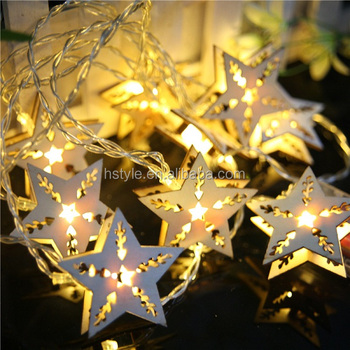 battery operated warm clear led country rustic wooden star christmas decoration hnl300b
