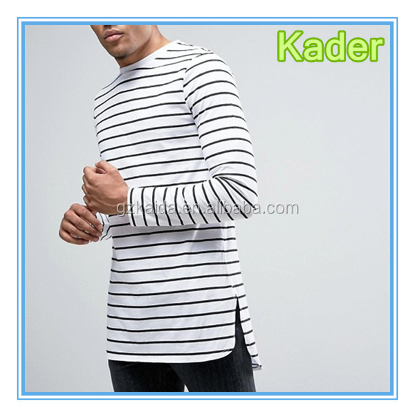 Stripe Super Longline Long Sleeve T-Shirt With Curved Step Hem