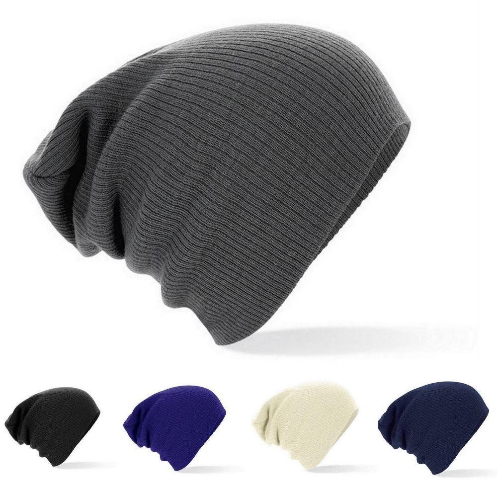 b4b188645c4 2015 New Winter Beanies Solid Color Hat Unisex Plain Warm Soft Beanie Skull Knit  Cap Hats