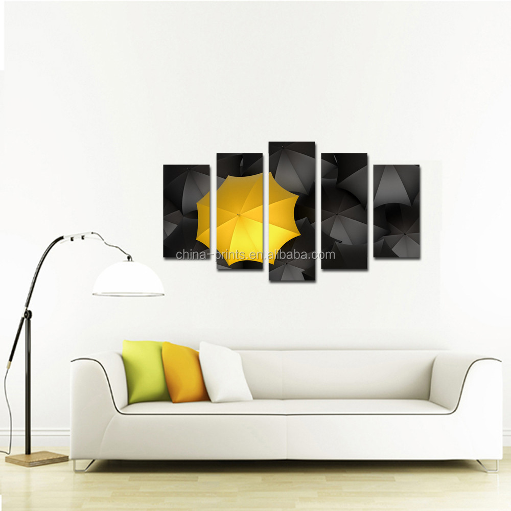 Framed Canvas Wall Art Contemporary Art Black Yellow Umbrella Canvas Artwork Pictures for Living Room Wall Home Office