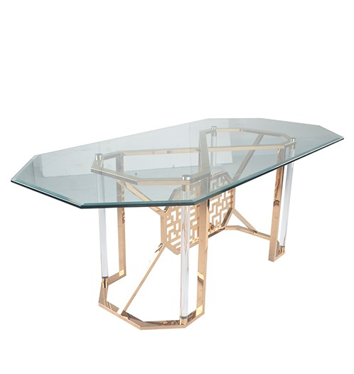 Rectangular glass top dining tables tempered glass dining for Tempered glass dining table