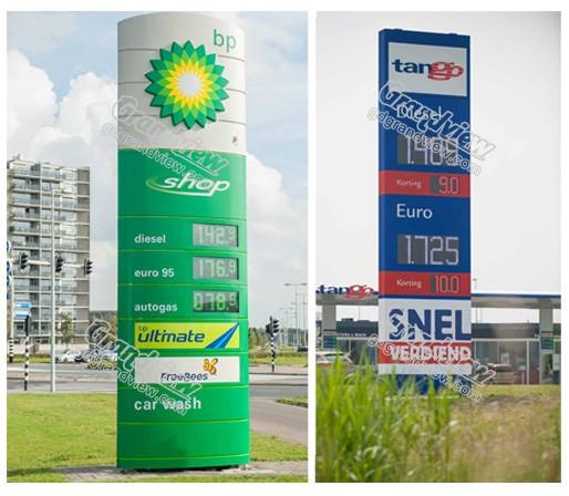 stehende Werbetafel Pylon Billboard Tankstelle führte Preiszeichen