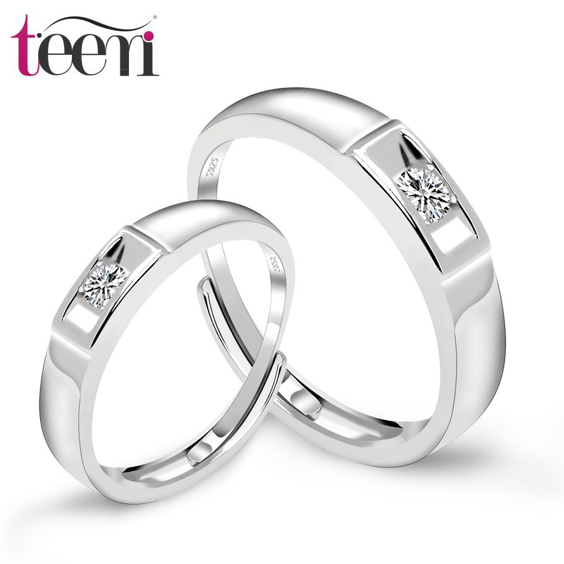 Teemi Free Szie 100% 925 Sterling <strong>Silver</strong> Women And Men Finger CZ Jewelry Engagement Rings