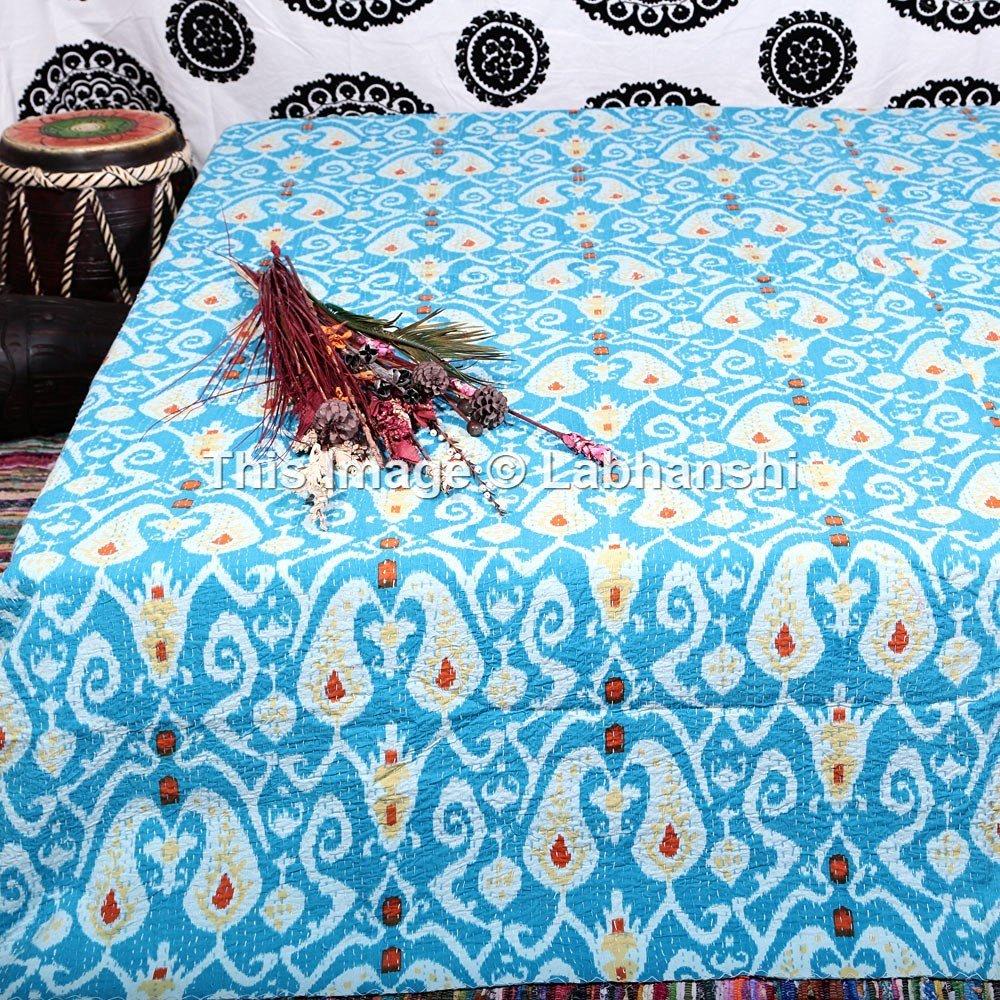 Handicrunch Queen Size Ikat Kantha Quilt, Reversible Bedcover Bedding Indian Throw, Kantha Quilt, Bohemian Kantha Bedspread, Indian Kantha Decor