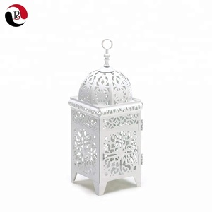 Factory Supply White Scrollwork Metal Candle Holder Lantern