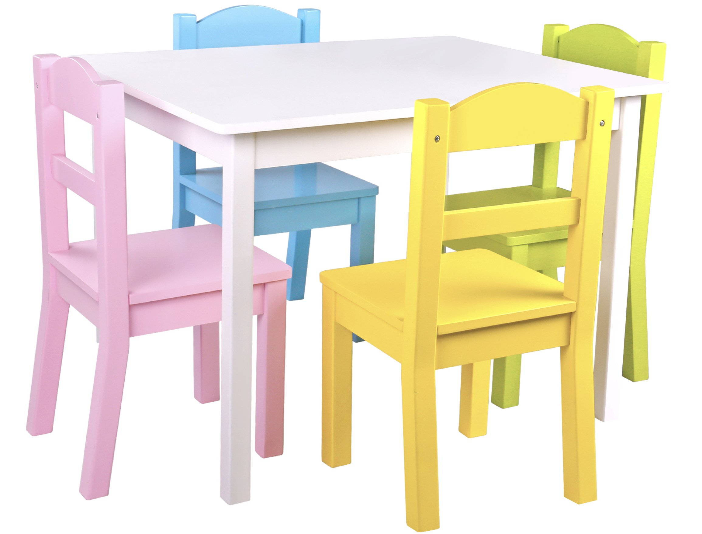 Get Quotations Pidoko Kids Wooden Table And Chairs Set Includes 4 1 Art Craft Study