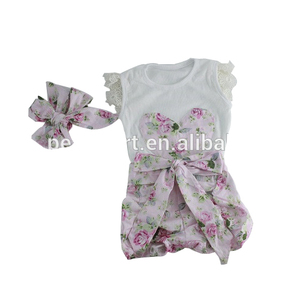 Wholesale baby flower pants cotton t shirt outfits baby girl clothes sets