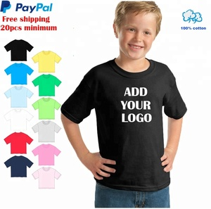 Free shipping 100% premium cotton one position 1-2 color free screen printing school uniform custom printed kids t shirt