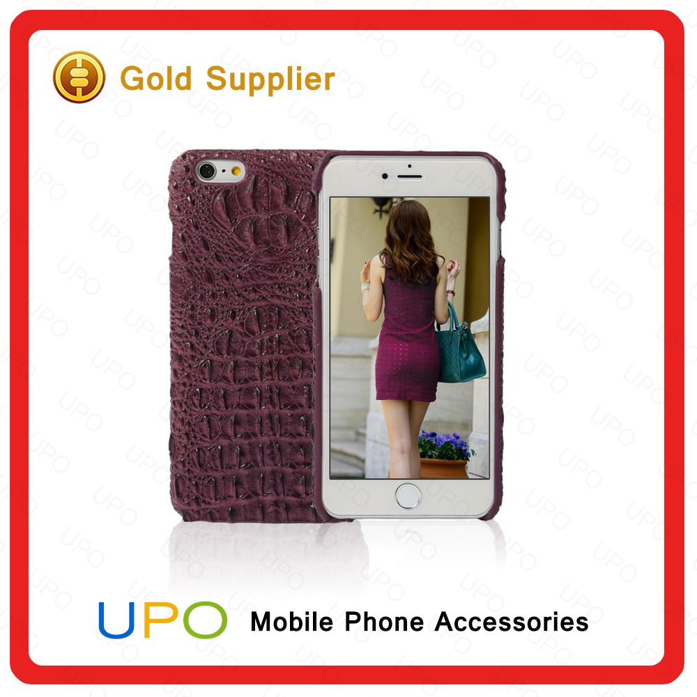 [UPO] New Arrival Genuine PU Leather Crocodile Skin Mobile Phone Case for iPhone 6