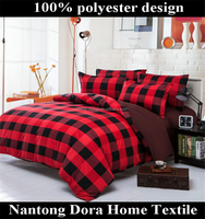 Red and black squares china bed sheet sets polyester 100 twill 90gsm quilt cover sets from china