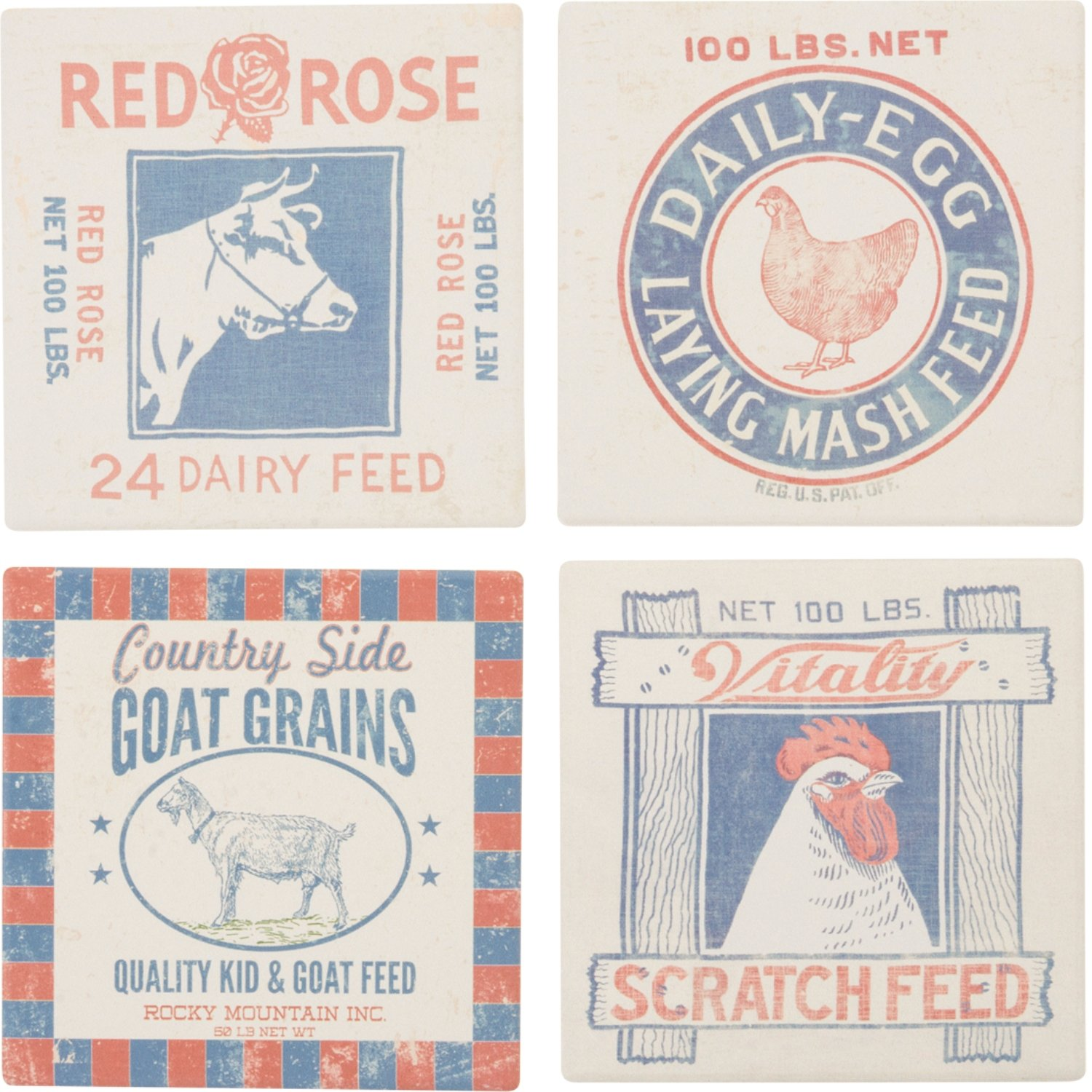 Feed Snack Prints Chicken Rooster Cow Drink Absorbent Coasters